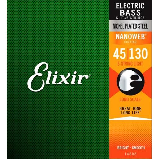 Elixir Light 5 String 45-130 w/Nanoweb Coating