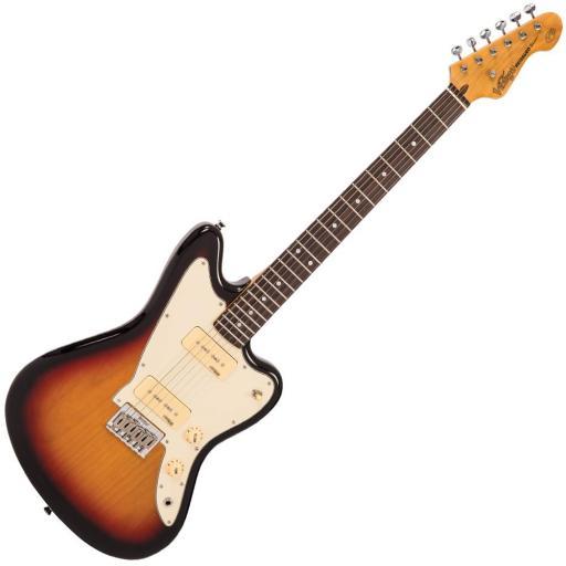 Vintage V65 Re-issued Hard Tail Electric Guitar in Tobacco Sunburst